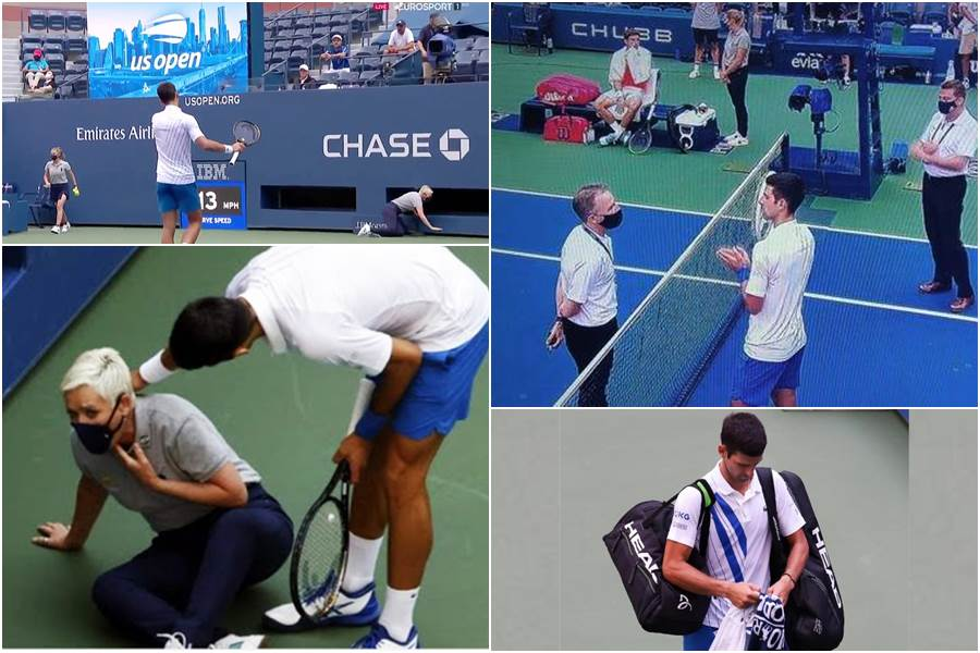 Novak Djokovic Disqualified From Us Open After Hitting Official With The Ball